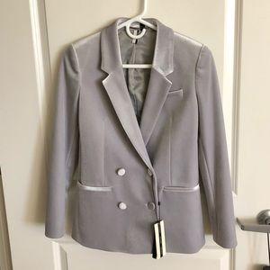 Topshop grey velvet blazer